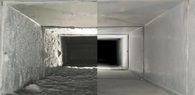 Φωτογραφία του εσωτερικού των αεραγωγών πριν και μετά τον καθαρισμό.